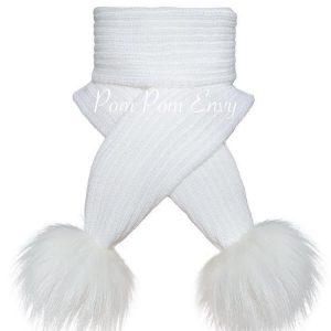 Pom Pom Envy – White – Scarf