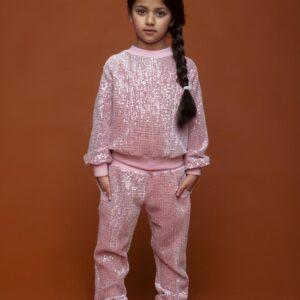 LE CHIC Pink Sequin Velour Set
