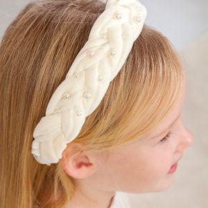 Abel & Lula Cream Braided Velvet & Pearl Hairband 5926