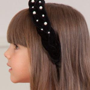 Abel & Lula Braided Velvet & Pearl Hairband 5926