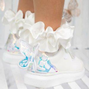 Caramelo White Ribbon Socks 049